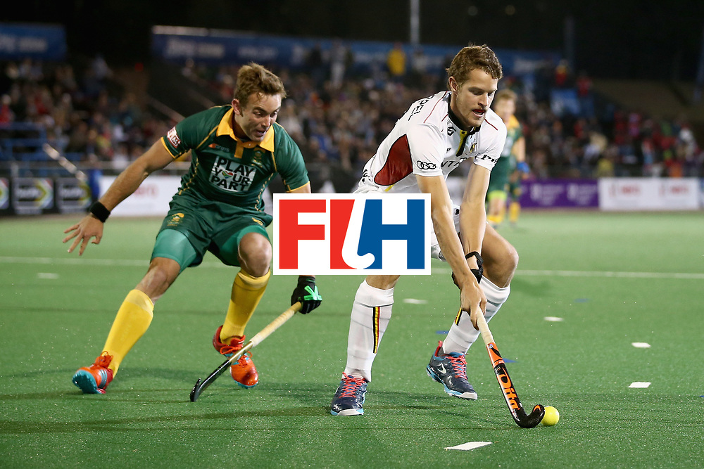 JOHANNESBURG, SOUTH AFRICA - JULY 17: Nicolas De Kerpel of Belgium is put under pressure from Daniel Bell of South Africa during the Group B match between South Africa and Belgium on day five of the FIH Hockey World League - Men's Semi Finals on July 17, 2017 in Johannesburg, South Africa.  (Photo by Jan Kruger/Getty Images for FIH)