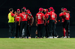 September 22, 2018 - Morrisville, North Carolina, US - Sept. 22, 2018 - Morrisville N.C., USA - Team Canada celebrates their Super Over win during the ICC World T20 America's ''A'' Qualifier cricket match between USA and Canada. Both teams played to a 140/8 tie with Canada winning the Super Over for the overall win. In addition to USA and Canada, the ICC World T20 America's ''A'' Qualifier also features Belize and Panama in the six-day tournament that ends Sept. 26. (Credit Image: © Timothy L. Hale/ZUMA Wire)