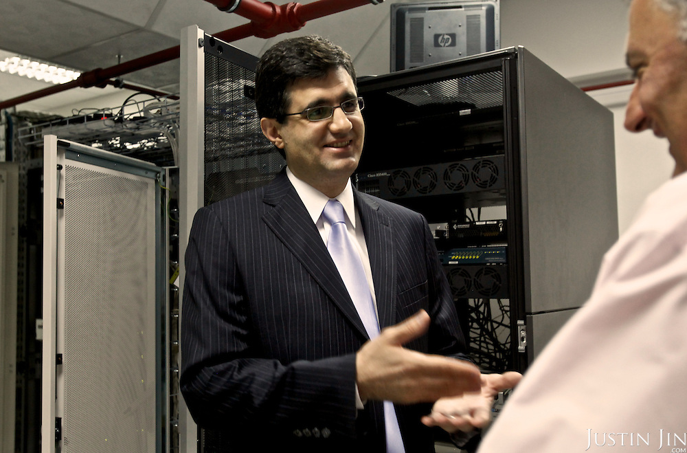 VivaCell- Armenia CEO Ralph Yirikian talks to a technician at the server room at his office headquarters in Yerevan, the capital of Armenia.