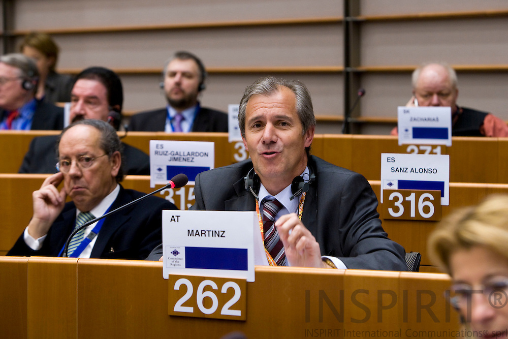 BRUSSELS - BELGIUM - 07 FEBRUARY 2008 -- Regional Minister Josef MARTINZ, Austrian Region of Carinthia, during a meeting in the Committee of the Regions.    Photo: Erik Luntang/