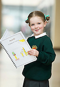 REPRO FREE: Seadna Ni Thuairisg from Sailearna Indreabhain with her book Ag an Zu  at the Galway Education Centre's Scriobh Leabhair at the Radisson Blu hotel where national school pupil wrote and Illustrated their own books. Photo:Andrew Downes, xposure.