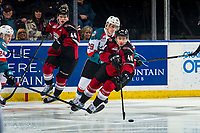 KELOWNA, CANADA - JANUARY 26: Nolan Foote #29 of the Kelowna Rockets back checks Milos Roman #40 of the Vancouver Giants as he skates with the puck on January 26, 2019 at Prospera Place in Kelowna, British Columbia, Canada.  (Photo by Marissa Baecker/Shoot the Breeze)