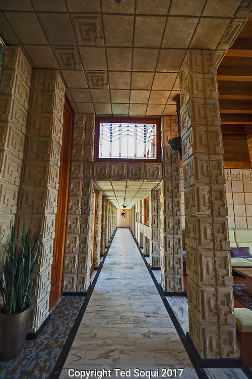 The Ennis House designed by Frank Lloyd Wright.<br /> Hallway inside.