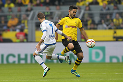 17.04.2016, Signal Iduna Park, Dortmund, GER, 1. FBL, Borussia Dortmund vs Hamburger SV, 30. Runde, im Bild Ivo Ilicevic (#7, Hamburger SV) mit Ilkay Guendogan (#8, Borussia Dortmund) // during the German Bundesliga 30th round match between Borussia Dortmund and Hamburger SV at the Signal Iduna Park in Dortmund, Germany on 2016/04/17. EXPA Pictures © 2016, PhotoCredit: EXPA/ Eibner-Pressefoto/ Deutzmann<br /> <br /> *****ATTENTION - OUT of GER*****