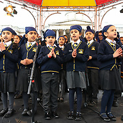 London, England, UK. 27 April 2019. Khalsa Trust Academy , Children's music performance at the Vaisakhi Festival is a Sikh New Year in Trafalgar Square, London, UK.
