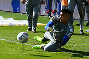 Neil Etheridge (1) of Cardiff City warming up ahead of the EFL Sky Bet Championship match between Cardiff City and Middlesbrough at the Cardiff City Stadium, Cardiff, Wales on 21 September 2019.