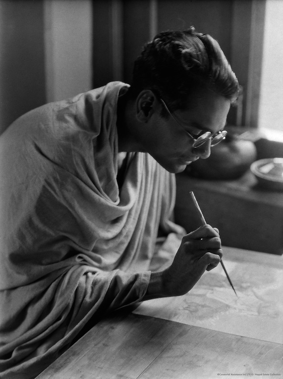A student painting a picture at Dr. Tagore's University Visva Bharati, Santiniketan, 1929
