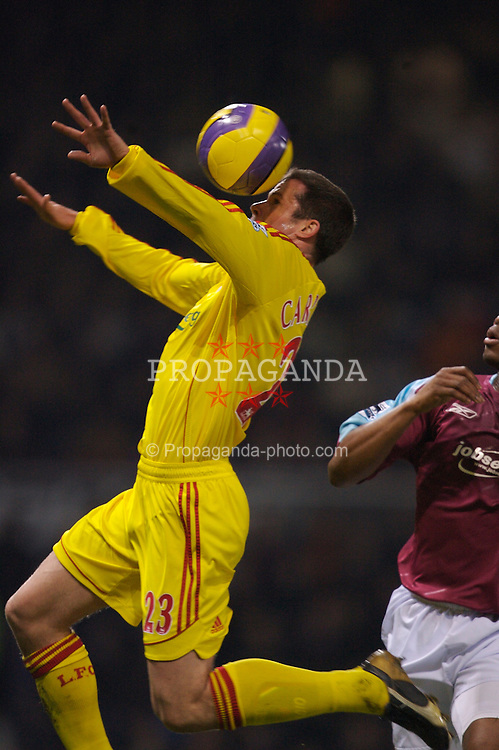 London, England - Tuesday, January 30, 2007: Liverpool's Jamie Carragher in action against West Ham United during the Premiership match at Upton Park. (Pic by David Rawcliffe/Propaganda)