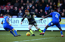 Rory Gaffney of Bristol Rovers takes on Barry Fuller and Adedeji Oshilaja of AFC Wimbledon - Mandatory by-line: Robbie Stephenson/JMP - 17/02/2018 - FOOTBALL - Cherry Red Records Stadium - Kingston upon Thames, England - AFC Wimbledon v Bristol Rovers - Sky Bet League One