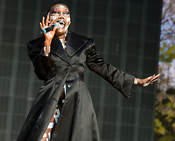 © Licensed to London News Pictures. 21/06/2015. London, UK.  Grace Jones performing at Hyde Park supporting headliner Kylie Minogue as part of the British Summer Time series of entertainment and music events and concerts held at Hyde Park.     Photo credit: Richard Isaac/LNP