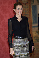 Queen Letizia of Spain attended a reception in honour of Chilean President at the El Pardo Palace on October 30, 2014 in Madrid, Spain