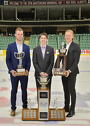 2015-16 CHL Award Winners Will Petschenig, Mitch Marner and Alexander Nylander at the ENMAX Centrium in Red Deer, Alberta on Saturday May 28, 2016. Photo by Terry Wilson / CHL Images.