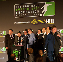 LONDON, ENGLAND - Tuesday, December 8, 2015: The Anfield Warp receive the Podcast of the Year Award during at the Football Supporters' Federation Awards Dinner 2015 at the St. Pancras Renaissance Hotel. (Pic by David Rawcliffe/Propaganda)