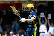 50 - James Fuller of Hampshire celebrates scoring a half century during the Royal London 1 Day Cup Final match between Somerset County Cricket Club and Hampshire County Cricket Club at Lord's Cricket Ground, St John's Wood, United Kingdom on 25 May 2019.