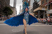 A feathered performer in the 2011 Pride Parade on New York's Fifth Avenue.