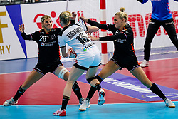 08-12-2019 JAP: Netherlands - Germany, Kumamoto<br /> First match Main Round Group1 at 24th IHF Women's Handball World Championship, Netherlands lost the first match against Germany with 23-25. / Angela Malestein #26 of Netherlands, Jessy Kramer #5 of Netherlands, Kim Naidzinavicius #15 of Germany