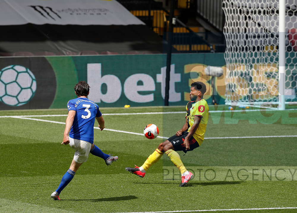 Ben Chillwell of Leicester City scores the first goal during the Premier League match at Vicarage Road, Watford. Picture date: 20th June 2020. Picture credit should read: Darren Staples/Sportimage