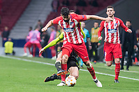 Atletico de Madrid Diego Costa and Sporting de Lisboa Cristiano Piccini during UEFA Europa League match between Atletico de Madrid and Sporting de Lisboa at Wanda Metropolitano in Madrid, Spain. April 05, 2018. (ALTERPHOTOS/Borja B.Hojas)