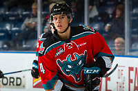 KELOWNA, CANADA - NOVEMBER 21: Devin Steffler #4 of the Kelowna Rockets warms up against the Regina Pats  on November 21, 2018 at Prospera Place in Kelowna, British Columbia, Canada.  (Photo by Marissa Baecker/Shoot the Breeze)