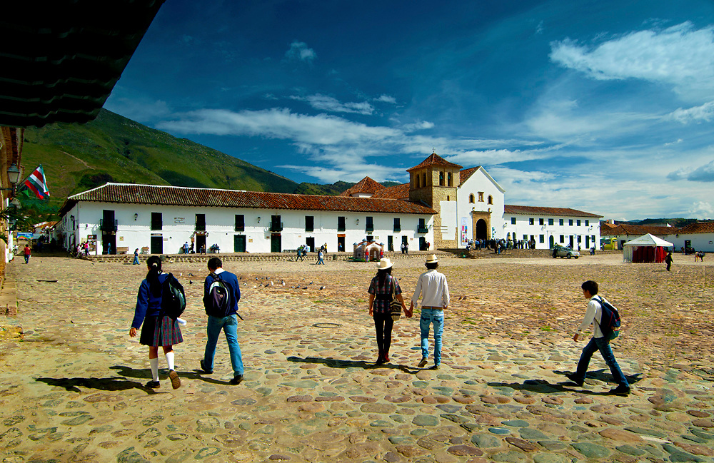 Colombia, Villa de Leyva, Boyaca Province, Colonial Town, National Monument,  Plaza Mayor, Largest Plaza In The Country, Iglesia Parroquial, Andes Mountains