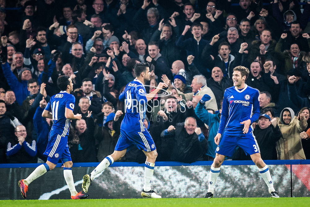 Chelsea forward Diego Costa (19) 1st goal for Chelsea during the Premier League match between Chelsea and Hull City at Stamford Bridge, London, England on 22 January 2017. Photo by Sebastian Frej.