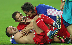 Turkish players celebrate after penalty shots during the UEFA EURO 2008 Quarter-Final soccer match between Croatia and Turkey at Ernst-Happel Stadium, on June 20,2008, in Wien, Austria.  Won of Turkey after penalty shots. (Photo by Vid Ponikvar / Sportal Images)