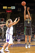 Baylor guard Jessica Morrow (3) fires a three pointer over Kansas State's Claire Coggins (L), during the first half at Bramlage Coliseum in Manhattan, Kansas, February 25, 2006. The 10 ranked Lady Bears defeated K-State 79-70.