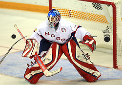 Goalie Pal Grotnes of Norway at ice-hockey match Germany vs Norway (they have old replika jerseys from year 1966) at Preliminary Round (group C) of IIHF WC 2008 in Halifax, on May 07, 2008 in Metro Center, Halifax,Nova Scotia, Canada. (Photo by Vid Ponikvar / Sportal Images)
