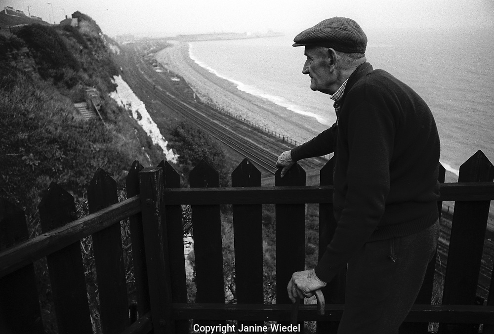 Eighty year old man whose house on the cliffs of Dover were about to be destroyed to make way for the Channel Tunnel terminal