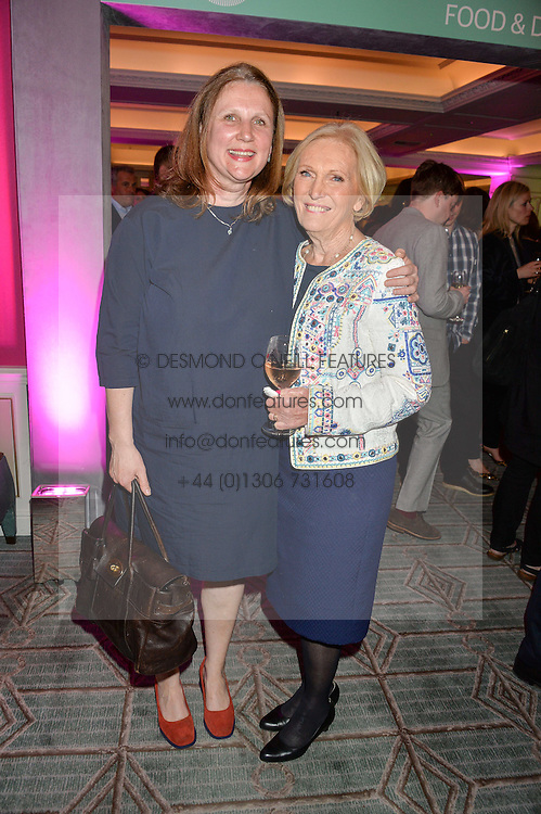 Left to right, ANGELA HARTNETT and MARY BERRY at the 2016 Fortnum & Mason Food & Drink Awards held at Fortnum & Mason, Piccadilly, London on 12th May 2016.