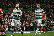 Celtic FC Midfielder Kris Commons celebrates the third goal of the game during the Ladbrokes Scottish Premiership match between Celtic and Dundee United at Celtic Park, Glasgow, Scotland on 25 October 2015. Photo by Craig McAllister.