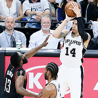 01 May 2017: San Antonio Spurs guard Danny Green (14) takes a jump shot over Houston Rockets guard James Harden (13) during the Houston Rockets 126-99 victory over the San Antonio Spurs, in game 1 of the Western Conference Semi Finals, at the AT&T Center, San Antonio, Texas, USA.