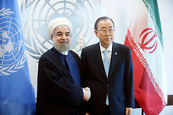 September 21, 2016 - New York, New York, USA - Iranian President Hassan Rouhani attends a meeting with UN Secretary General Ban Ki-moon at the United Nations Headquarters on September 21, 2016 in New York City, USA. (Credit Image: © Future-Image via ZUMA Press)