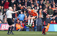 Cameron McGeehan of Luton shows his frustration at referee Michael Bull after Luton are denied a penalty during the Sky Bet League 2 match between Luton Town and Crawley Town at Kenilworth Road in Luton. March 12, 2016.<br /> James Boardman / Telephoto Images<br /> +44 7967 642437