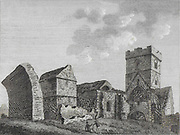 Engraving of Scottish landscapes and buildings from late eighteenth century, Inch Colm Abbey, Inchcolm Island, Scotland 1791 , drawn by S Hooper