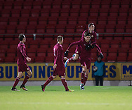 10th November 2017, McDiarmid Park, Perth, Scotland, UEFA Under-21 European Championships Qualifier, Scotland versus Latvia; Latvia's Roberts Uldrikis (17) is congratulated after heading home Latvia's opening goal for 1-0