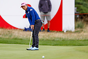 In-kyung Kim putts on the second during the Ricoh Women's British Open golf tournament at Royal Lytham and St Annes Golf Club, Lytham Saint Annes, United Kingdom on 4 August 2018. Picture by Simon Davies.