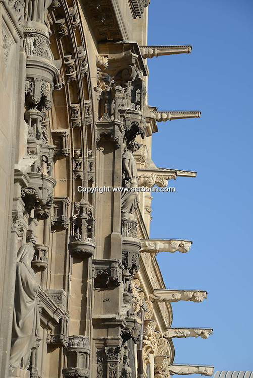 France. Paris.  Saint Eustache church  facade with gargoyls