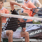 PARIS, FRANCE May 28.  Alexander Zverev of Germany smashes his racquet during his match against John Millman of Australia on Court Philippe-Chatrier in the Men's Singles first round match at the 2019 French Open Tennis Tournament at Roland Garros on May 28th 2019 in Paris, France. (Photo by Tim Clayton/Corbis via Getty Images)