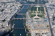 View of the Louvre Museum and the Tuilleries Garden with the Seine river running along the left.