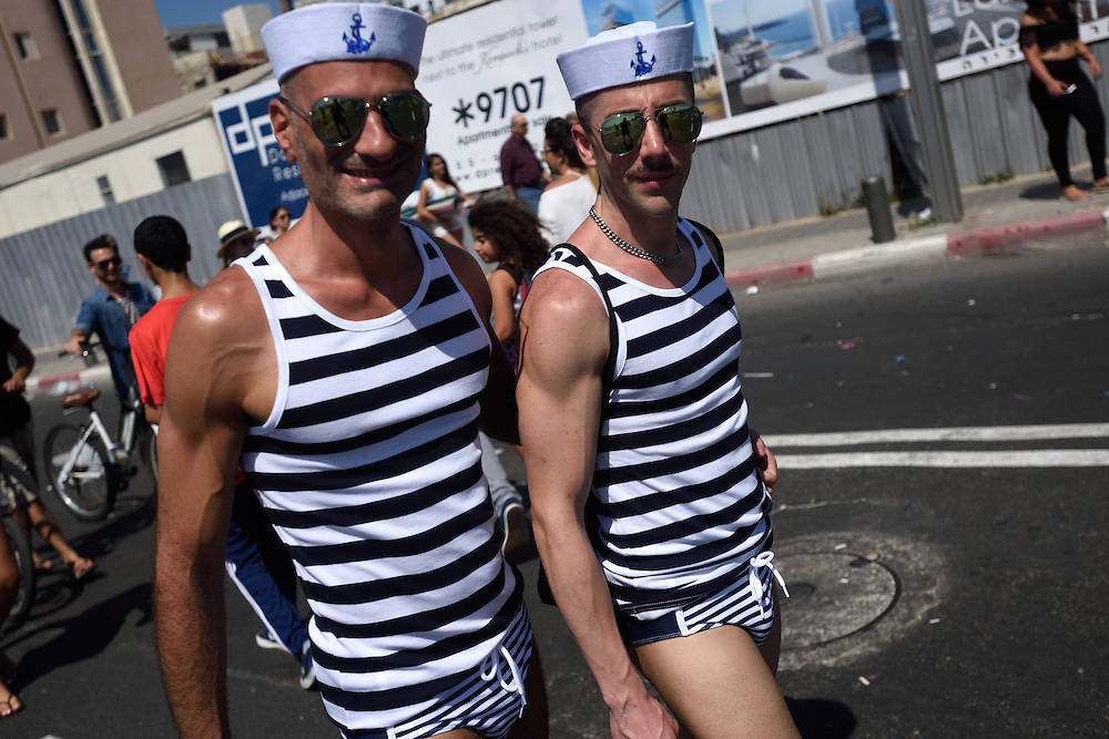 TEL -AVIV, ISRAEL - June 12, 2015: Men dressed in sailors costumes attend the Annual Gay Pride Parade took place in Tel-Aviv, attracting thousands of participants from all over the world. Photo by Gili Yaari