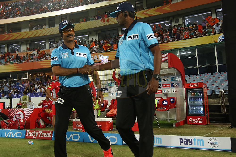 umpires entering the fop during match twenty five of the Vivo Indian Premier League 2018 (IPL 2018) between the Sunrisers Hyderabad and the Kings XI Punjab  held at the Rajiv Gandhi International Cricket Stadium in Hyderabad on the 26th April 2018.<br /> <br /> Photo by Saikat Das /SPORTZPICS for BCCI