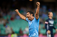 SYDNEY, AUSTRALIA - APRIL 06: Sydney FC player forward Raza Ghoochannejhad (16) celebrates the goal of midfielder Milos Ninkovic (10) at round 24 of the Hyundai A-League Soccer between Sydney FC and Melbourne Victory on April 06, 2019, at The Sydney Cricket Ground in Sydney, Australia. (Photo by Speed Media/Icon Sportswire)
