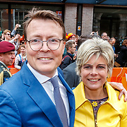 NLD/Groningen/20180427 - Koningsdag Groningen 2018, Constantijjn en partner Laurentien