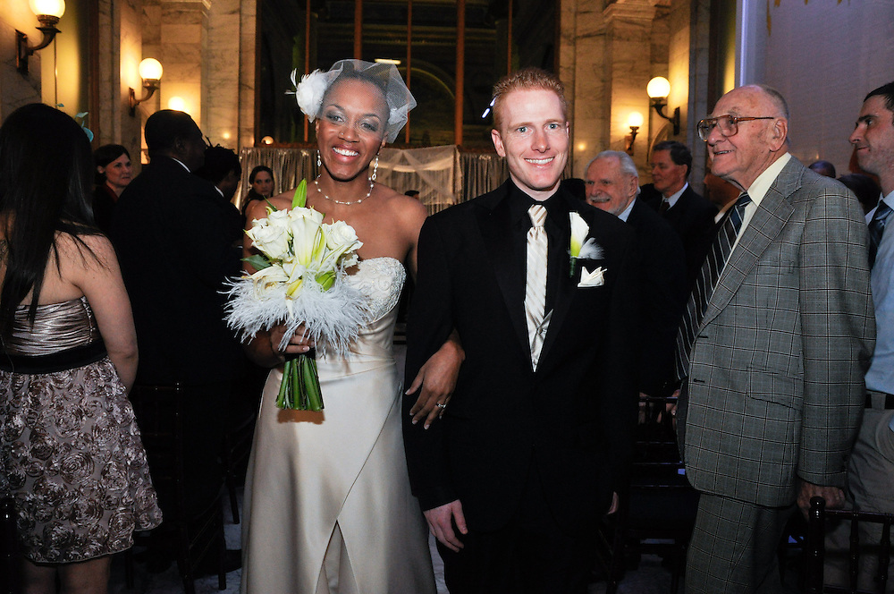 Uzoezi & Noam walk down the aisle as newlyweds, Merchant's Exchange, San Francisco