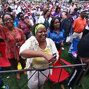 The crowd cheers during Brian Culbertson performance on the last day of the 26th annual duPont Clifford Brown Jazz Festival Saturday, June 21, 2014, at Rodney Square Park in Wilmington, DEL.    <br /> <br /> &ldquo;The Clifford Brown Jazz Festival is a staple of Wilmington&rsquo;s performing arts culture,&rdquo; said Mayor Dennis P. Williams. &ldquo;The City is excited to celebrate the 26th anniversary and I hope the community gets involved and enjoys all of the many activities the festival has to offer.&rdquo;<br /> <br /> The Clifford Brown Jazz festival is the largest FREE out door music event on the east coast of the United States.