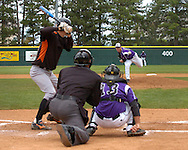 Oklahoma State starting pitcher Chase Bayuk fires the ball to the plate against Cowboy Jordy Mercer.  Oklahoma State defeated K-State 9-4 in 10 innings at Tointon Stadium in Manhattan, Kansas, April 30, 2006.