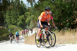 Sara Poidevin (CAN) crosses the gravel sector on Stage 3 of 2020 Santos Women's Tour Down Under, a 109.1 km road race from Nairne to Stirling, Australia on January 18, 2020. Photo by Sean Robinson/velofocus.com