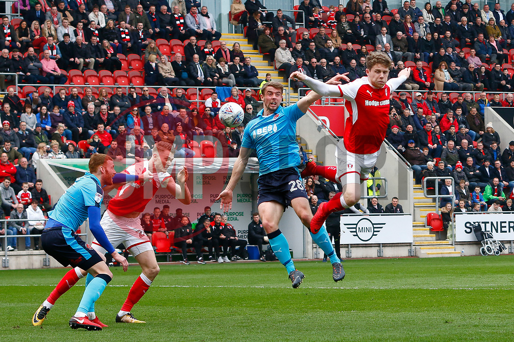 Matt Palmer of Rotherham United heads at goal - Mandatory by-line: Ryan Crockett/JMP - 07/04/2018 - FOOTBALL - Aesseal New York Stadium - Rotherham, England - Rotherham United v Fleetwood Town - Sky Bet League One