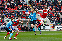 Matt Palmer of Rotherham United heads at goal - Mandatory by-line: Ryan Crockett/JMP - 07/04/2018 - FOOTBALL - Aesseal New York Stadium - Rotherham, England - Rotherham United v Fleetwood Town - Sky Bet League One